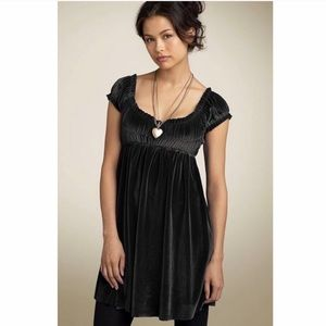 Free People Black Velvet Ruched Baby Doll Dress